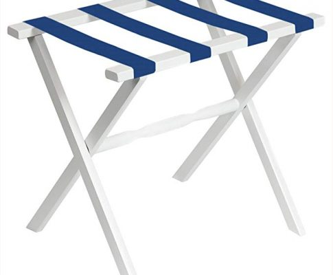 White Straight Leg Luggage Rack with 4 Bright Blue Straps Review