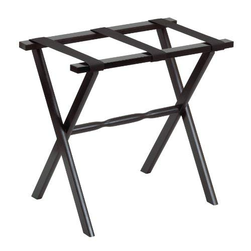 Gate House Furniture Item 1005 Black Straight Leg Luggage Rack with 3 Black Nylon Straps 23 by 13 by 20-Inch