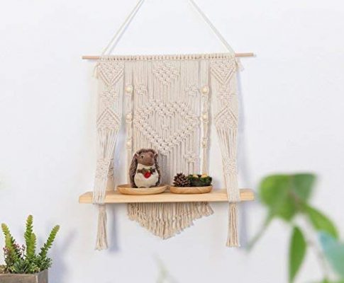 RISEON Handmade Vintage Rustic Wood Macrame Floating Hanging planter Wall Shelf Boho Chic Home Decor Review