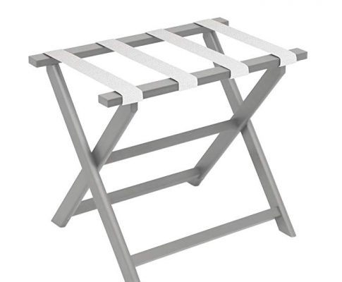 Gate House Furniture Light Grey Eco-Poly Folding Luggage Rack with 4 White Mesh Straps Review