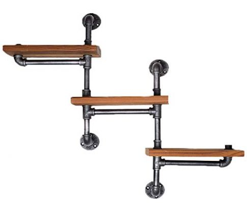 Find Joy Industrial Pipe Racks Wrought Iron Wall Pipe Retro Backdrop Wood Industry Water Separator Wall Shelves Review