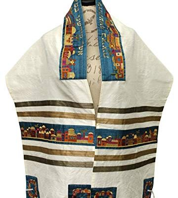 Majestic Giftware Tallit Cotton/Polyester Silk Embroidery with Bag and Kippah Jerusalem, 16″ x 70″ Review