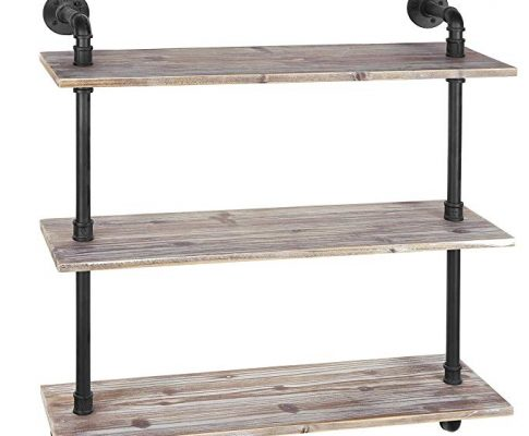 MyGift 3-Shelf Industrial Style Pipe & Rustic Wood Wall Mounted Shelving Unit Review