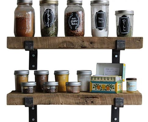 Reclaimed Wood Accent Shelves Rustic Industrial – Amish Handcrafted in Lancaster County, PA – Set of Two | 24 Inches, (Genuine Salvaged/Reclaimed with Raw Metal Brackets) (Natural 24″x 7″x 2″) Review