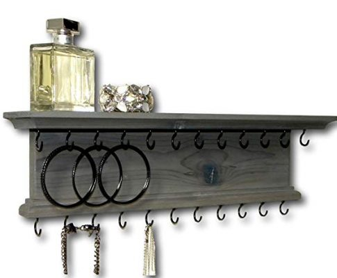 Jewelry Organizer Necklace Holder Wall Mounted Modern Rustic Wood Gray Wall Shelf Review