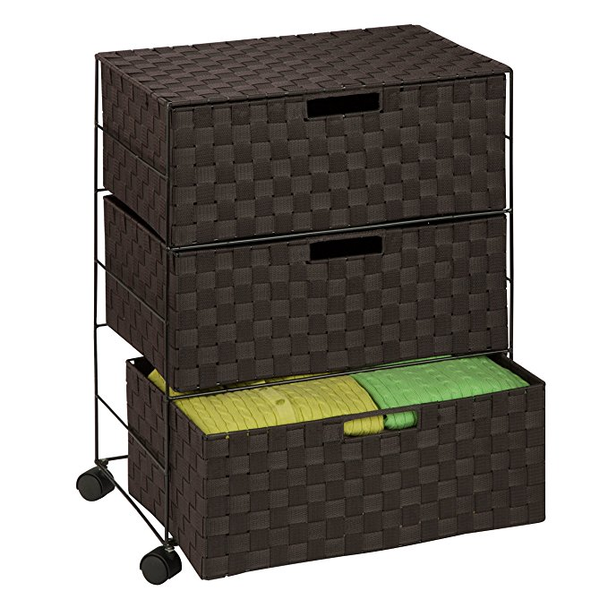 Honey-Can-Do OFC-03713 Double Woven 3-Drawer Chest Storage Organizer, Espresso Brown, 19.5L x 13W x 26H