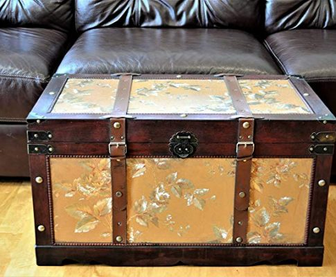 Gold Leaves Medium Wood Storage Trunk Wooden Treasure Chest Review