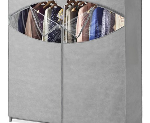 Whitmor Portable Wardrobe Clothes Storage Organizer Closet with Hanging Rack – Extra Wide -Grey Color – No-tool Assembly – Extra Strong & Durable – 60″L x 19.5″W x 64″ Review