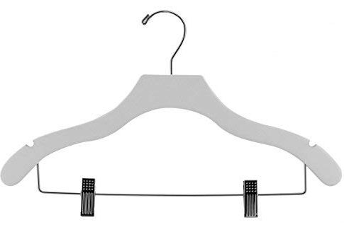 The Great American Hanger Company Wooden Combo White Finish Hanger with Clips and Notches (Box of 50) Review