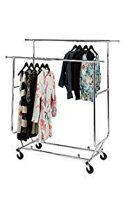 New Double Rail Collapsible Chrome Rolling Clothing/garment Rack