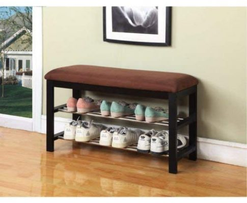 Chocolate Microfiber Black Frame Shoe Rack Bench Review