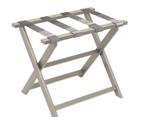 Gate House Furniture Taupe Eco-Poly Folding Luggage Rack with Brown Multi-Striped Straps Review