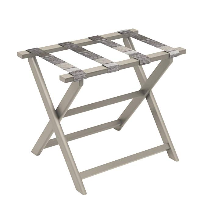 Gate House Furniture Taupe Eco-Poly Folding Luggage Rack with Brown Multi-Striped Straps