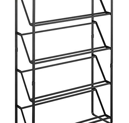 Sleek Modern Space Saving Tower Shoe Rack, Slim Footwear Storage 4 Tier Shelf Organization, Black Review