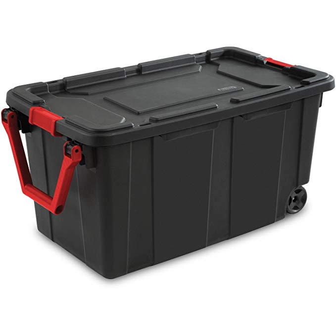 Gallon Wheeled Industrial Tote , Ergonomic handle that rotates up for easy pulling