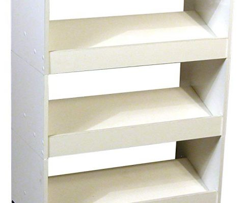 Mobile Shoe Caddy w Top & 3 Slanted Shelves in White Finish Review