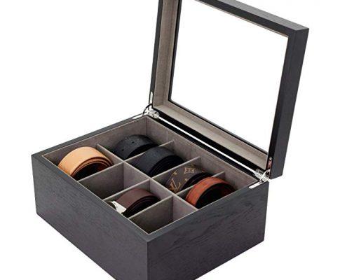 Belt Box Valet Organizer 8 XL Compartments Black Glass Top – Wood Review