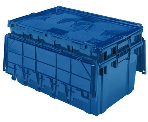 Buckhorn AR2717120209000 Attached Lid Flip Top Storage and Distribution Plastic Tote, 27-Inch x 17-Inch x 12-Inch, Blue Review