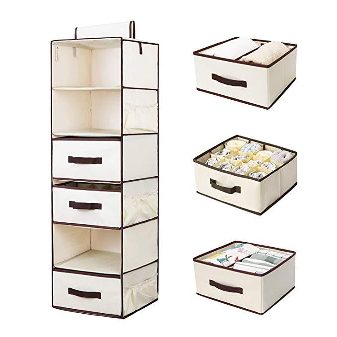 StorageWorks Hanging Closet Organizer, Foldable Closet Hanging Shelves With Drawer, Polyester Canvas, Natural, 6-Shelf