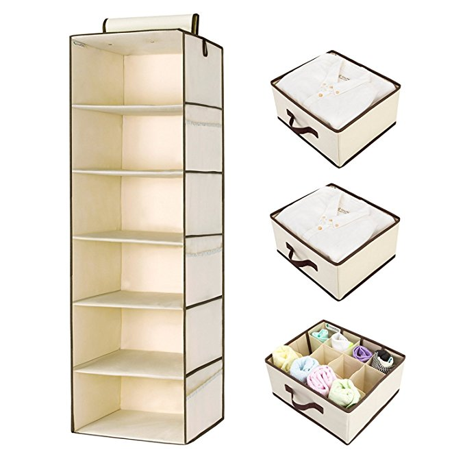 StorageWorks Hanging Closet Organizer, Foldable Closet Hanging Shelves with 2 Drawers & 1 Underwear Drawer, Polyester Canvas, Natural, 6-Shelf, 13.6x12.2x42.5 inches