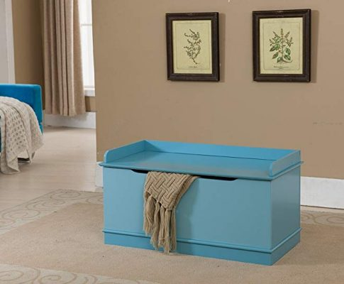 Kings Brand Furniture Wood Storage Bench Toy Box, Turquoise Blue Review