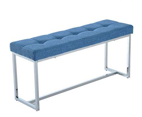 """HomCom 39"""" Contemporary Tufted Linen Chrome Base Entryway Bench (Blue) Review"""