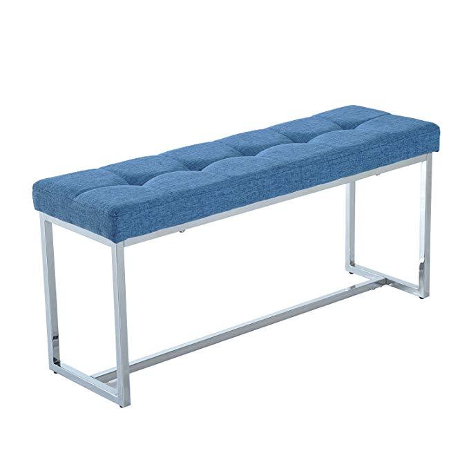"HomCom 39"" Contemporary Tufted Linen Chrome Base Entryway Bench (Blue)"