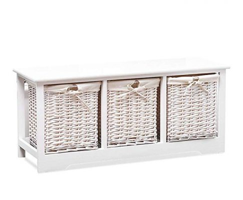 Mecor Wood Storage Bench with 3 Wicker Baskets,Entryway Furniture,Large Rectangular,White Review