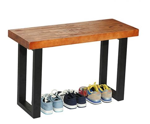 Rustic Style Wood and Industrial Black Metal Shoe Bench / Heavy Duty Entryway Seat – MyGift Review