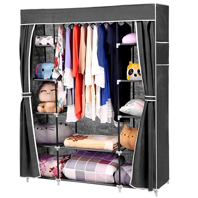 Wakrays Portable Clothes Closet Wardrobe Storage Organizer with Curtain and 12 Shelves
