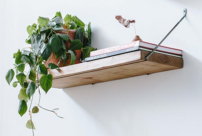 Trust Belt Furnishings Floating Wall Shelves - Rustic Modern Wood Hanging Shelves - Vintage Wall Decor - Handmade in USA (LARGE 32