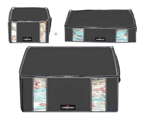 Compactor Space Saver Vacuum Storage Solution Vacuum Bag to Protect Clothes, Pillows, Duvets, Comforters, Blankets (M + L + XXL, Midnight Black) Review