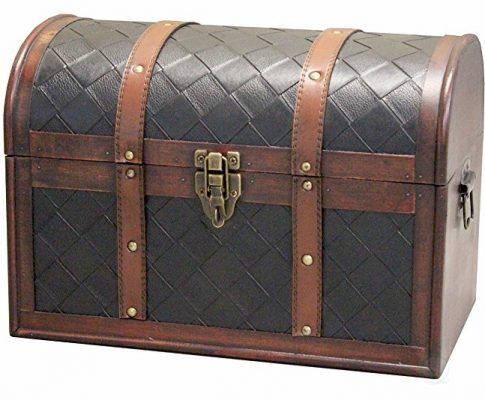 Wooden Leather Round Top Treasure Chest, Decorative storage Trunk with Lockable Latch Review