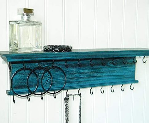 Jewelry Organizer Necklace Holder Wall Mounted Modern Rustic Distressed Teal Wood Review