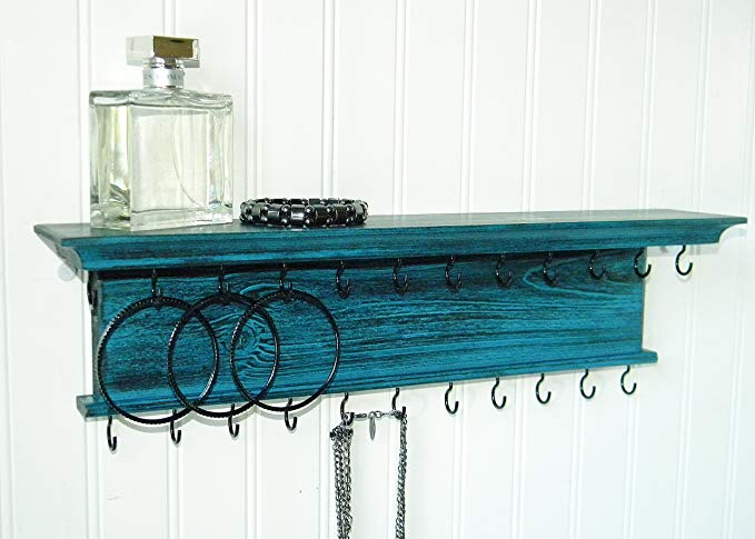Jewelry Organizer Necklace Holder Wall Mounted Modern Rustic Distressed Teal Wood