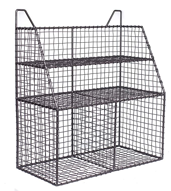 BirdRock Home Wire Wall Organizer   Wall-Mounted Shelves   Multiple Basket Compartments   Metal Storage Rack   Hanging Bin   Industrial Design   Dividers