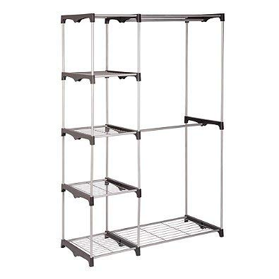 Honey-can-do® 68-inch Steel Freestanding Wardrobe Closet, 4-tier Stacking Shelves, Dual Rods for Hangers, Perfect for Your Shoes, Clothes & Other Items Organized Review