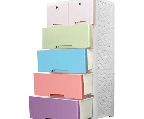 Portable Kid Wardrobe Plastic Drawer Chest, MultiFuncation Plastic Storage Organizer for Bedroom, Living Room Review
