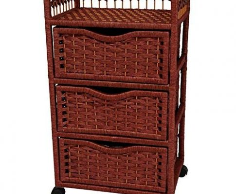Oriental Furniture 31″ Natural Fiber Chest of Drawers on Wheels – Mahogany Review