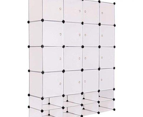 TANGKULA Portable Clothes Closet Wardrobe Bedroom Armoire DIY Storage Organizer Closet with Doors, 16 Cubes and 8 Shoe Racks Review