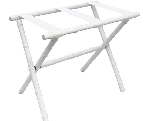 Gate House Furniture White Folding Bamboo Shaped Luggage Rack with White Nylon Straps Review