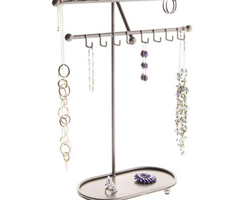 Angelynn's Necklace Holder Organizer Jewelry Tree Stand Storage Rack, Sharisa Satin Nickel Silver Review