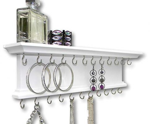 Jewelry Organizer Necklace Holder Wall Mounted White Solid Wood Review