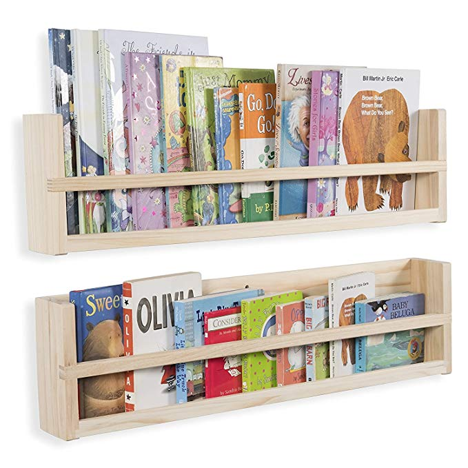 Brightmaison Set of 2 Wooden Wall Shelves Molding Style Strong Sturdy Wood Material 30 inch (No Finish)