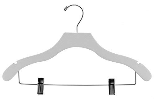 The Great American Hanger Company Wooden Combo White Finish Hanger with Clips and Notches (Box of 50)