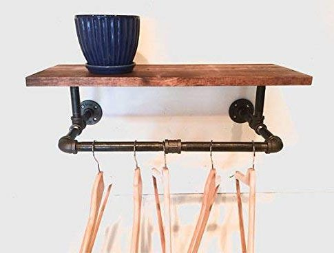 Clothing Rack, Pipe Rack, Rustic Laundry Rack Sign with a Touch Industrial Style with 24″ Shelf (Stain Options) Review