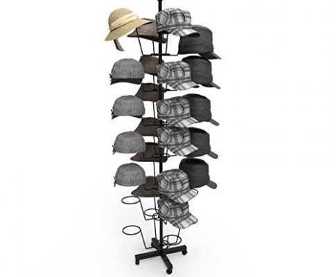 Homdox 7 Tier Hat Display Rack Stand Rotating Hat Rack Adjustable Metal Free Standing Floor Stand for Baseball Caps, Women's & Men's, Cowboy's Hat (Black) Review