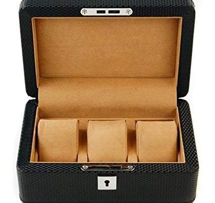 RAKUKAIMONO 3 slot Carbon Fiber Pattern Watch Jewelry Case Box Luxurious Men Black with Lock and Key Review