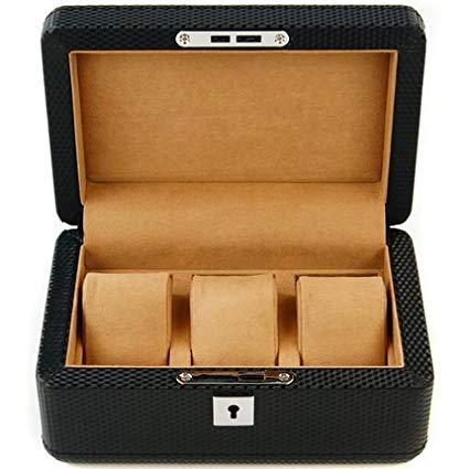 RAKUKAIMONO 3 slot Carbon Fiber Pattern Watch Jewelry Case Box Luxurious Men Black with Lock and Key