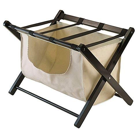 Winsome Trading Dora Luggage Rack with Removable Fabric Basket